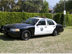 The 2011 Ford Crown Victoria police interceptor is currently in use by the City of Sierra Madre, Calif. It will be transferred to another city next month. Photo courtesy of SCAQMD.