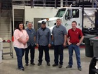 Pictured from left to right are: Pam Allen, fleet assistant; Barry Blackett, mechanic III, ASE Master automobile technician; Virgil Kelly, mechanic II, ASE Master automobile technician; Kelly Davies, mechanic III, ASE Master medium/heavy truck technician; and Thomas Volt, fleet manager, ASE Master automobile technician and Master medium/heavy truck technician.
