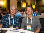 Paul Chamberlain, Clark Public Utilities in Vancouver, Wash., and Andy Eckert from the City of Culver City, Calif., are pictured here before the opening of the conference on Monday.