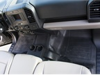 The truck lacks carpet, which allows fleet maintenance personnel to