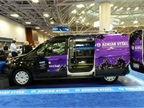 This view shows the Ford Transit with the low roof and long wheelbase.