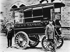First motorized police patrol wagonThe City of Akron, Ohio, claims to have the world's first motorized patrol wagon. Designed by the City mechanical engineer and built in 1899 by Akron's Collins Buggy Co., the electrically powered vehicle cost $2,400. On level ground, it could reach 18 mph and travel about 30 miles before it needed to be recharged. The vehicle was equipped with electric lights, gongs, and a stretcher. The first assignment on the patrol wagon was to pick up an intoxicated man.<br />Photo courtesy of City of Akron, Ohio