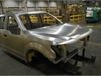 A finished aluminum body is on display at the plant.