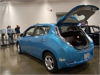 A Nissan LEAF was available on-site for demonstration purposes.
