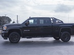 The crew cab truck is equipped with 4WD in the SLT trim grade.