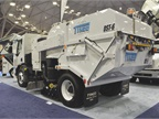 The Tymco DST-6 mechanical sweeper features a six-yard usable hopper