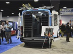 Adrian Steel s booth featured a van with an oxygen tank and medical
