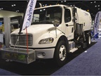 The Johnston RT655 regenerative air sweeper features a 8.5-cubic-yard