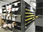 The fleet s parts room uses mobile shelves in order to get more