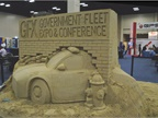 A 12-ton sand sculpture was completed by the end of the exhibit hall