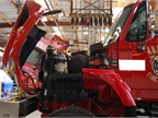 A wildland fire truck is pictured here being serviced. The
