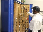 The keys to city motor pool vehicles are stored in cabinet in the