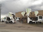 The city has eight street sweepers. They are washed at least once a