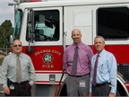 Pictured l-r are Keith Marian, fleet maintenance superintendent; Chris Saxe, deputy public works director, field operations; and Joe De Francesco, director of public works.
