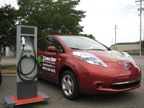 Nissan had two LEAF electric vehicles at the signing. Shown here is