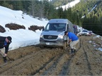 Our Sprinter caravan negotiated mud channels at times a foot deep. As