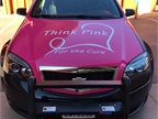 The 2016 cruiser features the  Think Pink  slogan and a white ribbon