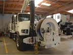This Vaccon sewer truck, a fan unit,  holds 1,100 gallons of water and