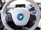 The leather-trimmed steering wheel included controls for the