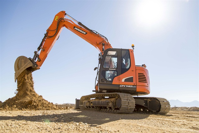 <p>DX140LC crawler excavator. <em>Photo courtesy of Doosan</em></p>