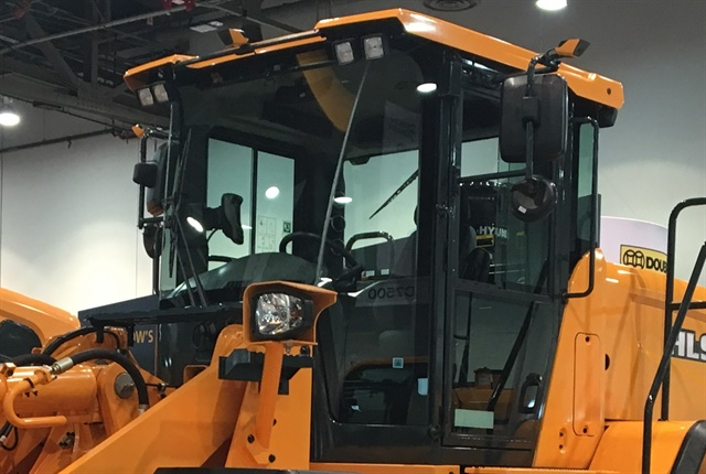 <p>The All-Around View Monitoring system is being shown publicly for the first time at the 2018 World of Concrete Show in Las Vegas on a Hyundai HL955 wheel loader. <em>Photo courtesy of Hyundai</em></p>