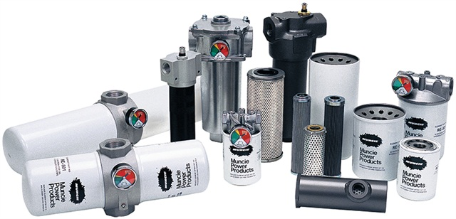 <p><em>Photo courtesy of Muncie Power Products Inc.</em><br /> This line of hydraulic filters offers both nominal<br />and absolute filtration with flow to 100 GPM.</p>