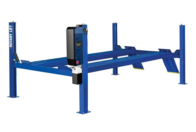 <p>Rotary Lift's 14,000-lb. capacity SM and AR series four-post lifts can handle cars, vans, and light trucks through Class 3. <em>Photo courtesy of Rotary Lift</em></p>