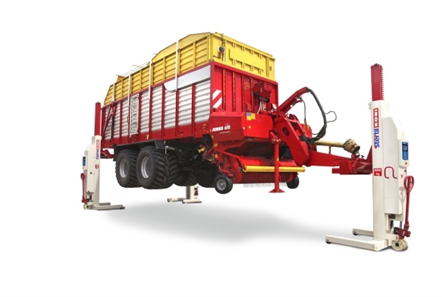 <p>For those in agribusiness, the Stertil-Koni 920 multipurpose fork adapter<em></em>addresses the special lifting needs of tractors and related equipment. Agricultural multipurpose adapters have a capacity of up to 22,000 lbs. per adapter. (Photo: Stertil-Koni)</p>