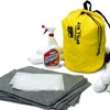 The system comes in a compact, water-resistant storage bag that easily fits inside the vehicle. It includes everything needed to handle the first response to a hazardous spill situation.